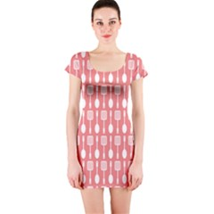 Coral And White Kitchen Utensils Pattern Short Sleeve Bodycon Dresses
