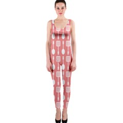 Coral And White Kitchen Utensils Pattern OnePiece Catsuits