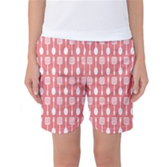 Coral And White Kitchen Utensils Pattern Women s Basketball Shorts