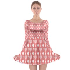 Coral And White Kitchen Utensils Pattern Long Sleeve Skater Dress