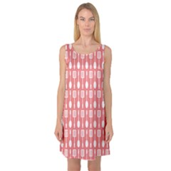 Coral And White Kitchen Utensils Pattern Sleeveless Satin Nightdresses