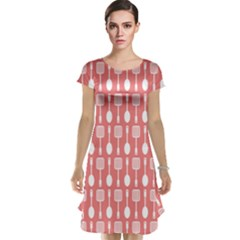 Coral And White Kitchen Utensils Pattern Cap Sleeve Nightdresses