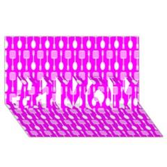 Purple Spatula Spoon Pattern #1 Mom 3d Greeting Cards (8x4)