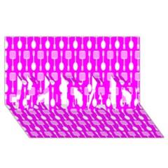 Purple Spatula Spoon Pattern #1 Dad 3d Greeting Card (8x4)