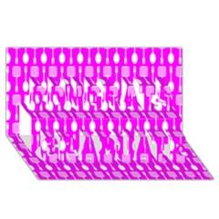 Purple Spatula Spoon Pattern Congrats Graduate 3D Greeting Card (8x4)