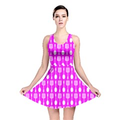 Purple Spatula Spoon Pattern Reversible Skater Dresses