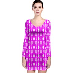 Purple Spatula Spoon Pattern Long Sleeve Bodycon Dresses