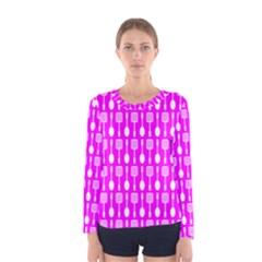 Purple Spatula Spoon Pattern Women s Long Sleeve T-shirts