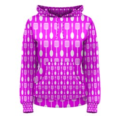 Purple Spatula Spoon Pattern Women s Pullover Hoodies