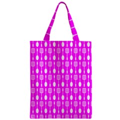 Purple Spatula Spoon Pattern Zipper Classic Tote Bags