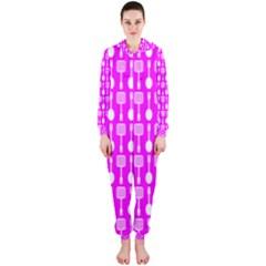 Purple Spatula Spoon Pattern Hooded Jumpsuit (Ladies)