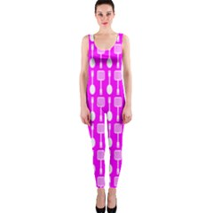 Purple Spatula Spoon Pattern Onepiece Catsuits