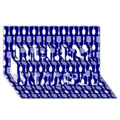 Indigo Spatula Spoon Pattern Merry Xmas 3D Greeting Card (8x4)