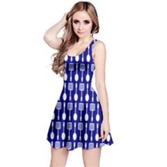 Indigo Spatula Spoon Pattern Reversible Sleeveless Dresses
