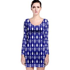 Indigo Spatula Spoon Pattern Long Sleeve Bodycon Dresses