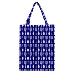 Indigo Spatula Spoon Pattern Classic Tote Bags
