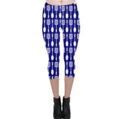 Indigo Spatula Spoon Pattern Capri Leggings