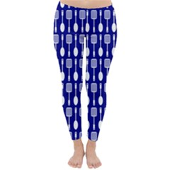 Indigo Spatula Spoon Pattern Winter Leggings
