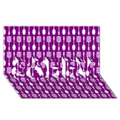 Magenta Spatula Spoon Pattern SORRY 3D Greeting Card (8x4)