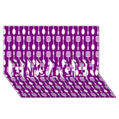 Magenta Spatula Spoon Pattern ENGAGED 3D Greeting Card (8x4)