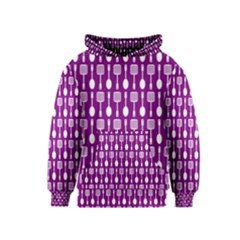 Magenta Spatula Spoon Pattern Kid s Pullover Hoodies