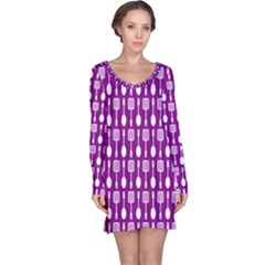 Magenta Spatula Spoon Pattern Long Sleeve Nightdresses