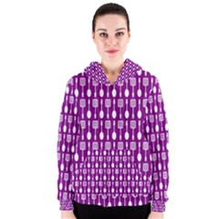 Magenta Spatula Spoon Pattern Women s Zipper Hoodies