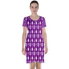 Magenta Spatula Spoon Pattern Short Sleeve Nightdresses