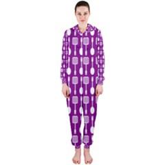 Magenta Spatula Spoon Pattern Hooded Jumpsuit (Ladies)
