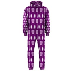 Magenta Spatula Spoon Pattern Hooded Jumpsuit (Men)