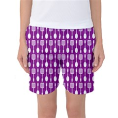 Magenta Spatula Spoon Pattern Women s Basketball Shorts
