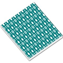 Teal And White Spatula Spoon Pattern Small Memo Pads