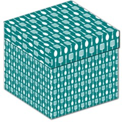 Teal And White Spatula Spoon Pattern Storage Stool 12