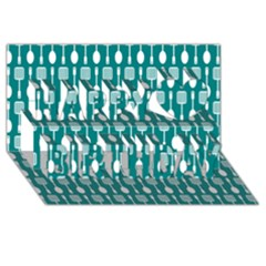 Teal And White Spatula Spoon Pattern Happy Birthday 3D Greeting Card (8x4)
