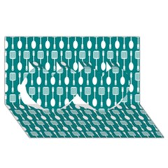 Teal And White Spatula Spoon Pattern Twin Hearts 3d Greeting Card (8x4)