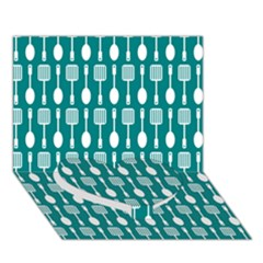 Teal And White Spatula Spoon Pattern Heart Bottom 3d Greeting Card (7x5)