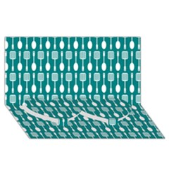 Teal And White Spatula Spoon Pattern Twin Heart Bottom 3D Greeting Card (8x4)