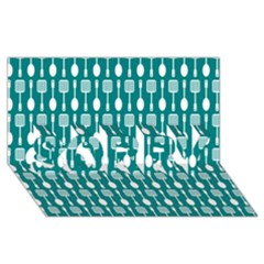 Teal And White Spatula Spoon Pattern SORRY 3D Greeting Card (8x4)