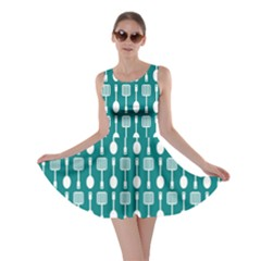 Teal And White Spatula Spoon Pattern Skater Dresses