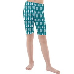 Teal And White Spatula Spoon Pattern Kid s Swimwear