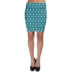 Teal And White Spatula Spoon Pattern Bodycon Skirts