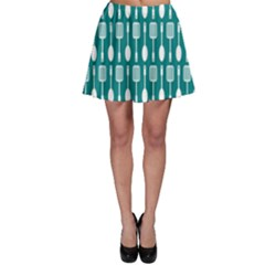 Teal And White Spatula Spoon Pattern Skater Skirts