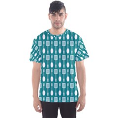 Teal And White Spatula Spoon Pattern Men s Sport Mesh Tees