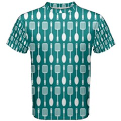 Teal And White Spatula Spoon Pattern Men s Cotton Tees