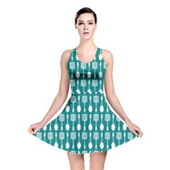 Teal And White Spatula Spoon Pattern Reversible Skater Dresses