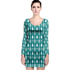 Teal And White Spatula Spoon Pattern Long Sleeve Bodycon Dresses