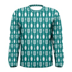 Teal And White Spatula Spoon Pattern Men s Long Sleeve T-shirts