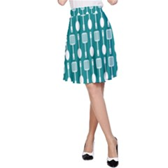 Teal And White Spatula Spoon Pattern A-Line Skirts