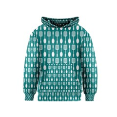 Teal And White Spatula Spoon Pattern Kid s Pullover Hoodies