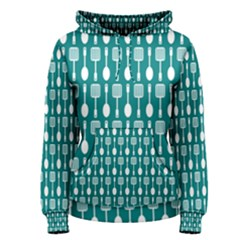 Teal And White Spatula Spoon Pattern Women s Pullover Hoodies